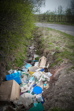 Fly-tipped Building And Decorating Waste In Ditch