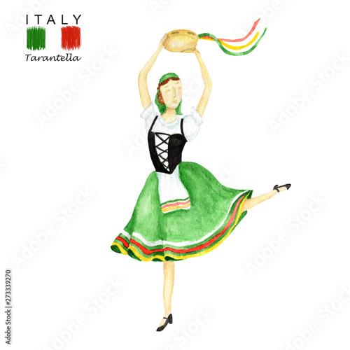 National Costume Dancing An Italian Tarantella With A