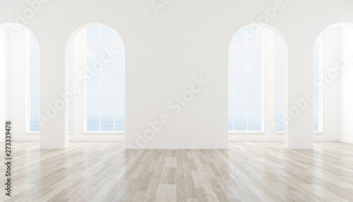 View of interior space with arch window design on sea view background,blank space of architecture with wood laminate floor Canvas Print