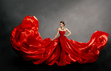Woman Red Dress, Fashion Model In Long Silk Gown Waving Cloth On Wind, Flying Fluttering Fabric