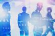 Diverse business people, global digital network