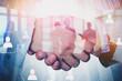 Handshake of business people, social network