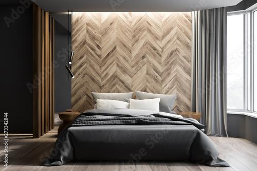 Pinturas sobre lienzo  Gray and wooden bedroom interior, curtains