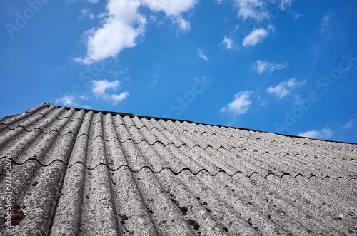 Photo Roof made of carcinogenic asbestos tiles.