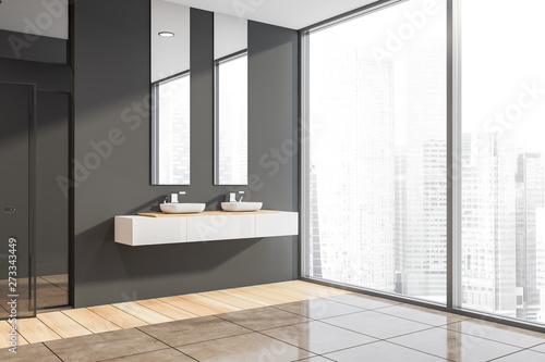 Fabulous Panoramic Dark Gray Bathroom With Double Sink Kaufen Sie Interior Design Ideas Gresisoteloinfo