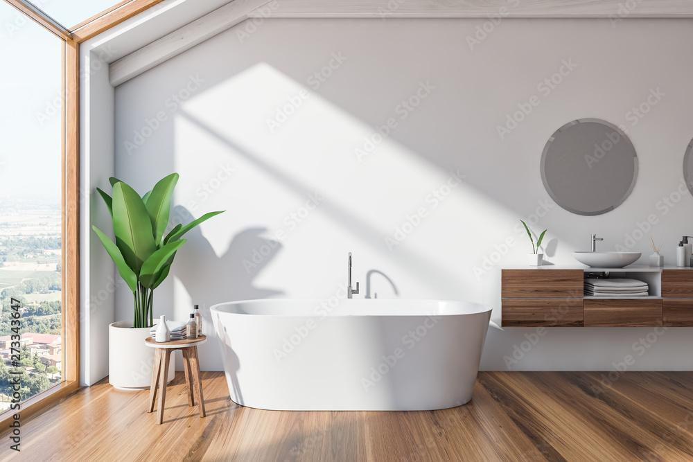 Fototapeta Loft Scandinavian bathroom interior, tub and sink