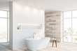 canvas print picture White and stone bathroom corner with tub