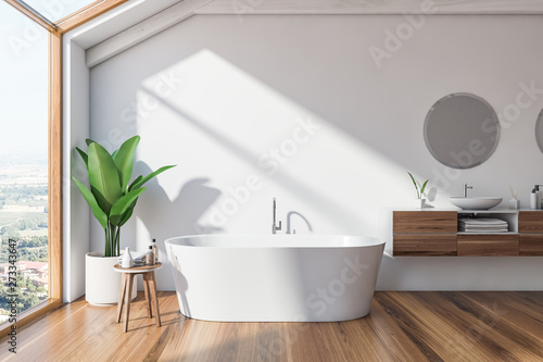 Loft Scandinavian bathroom interior, tub and sink