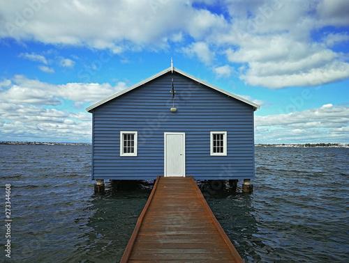 Crawley Edge Boatshed-Blue Boat House, Perth, Australia Fototapeta