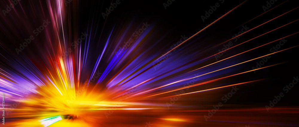 Fototapety, obrazy: Panoramic high speed technology concept, light abstract background