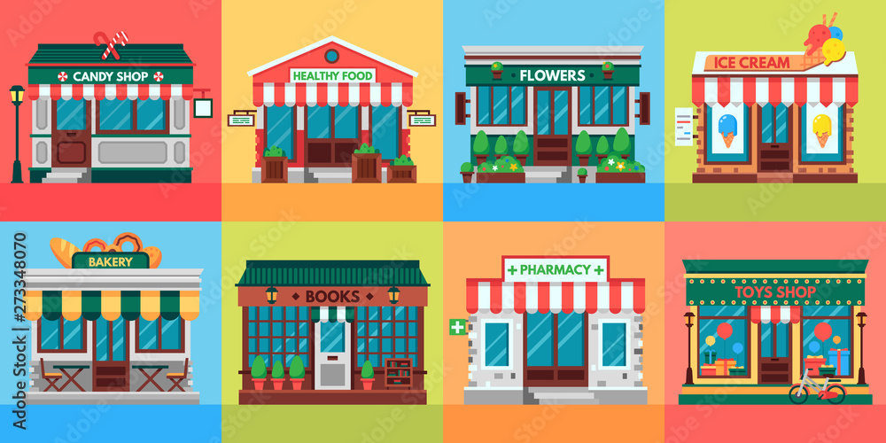 Fototapeta Local shops facades. Grocery shop doors, old boutique store building front and retail stores facade. Supermarket, bistro or pharmacy building, fruit market, pizza or coffee cafe flat vector set