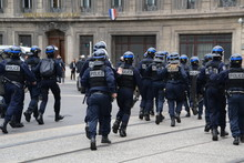 Police Force Photographed During A Demonstration