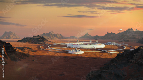 colony on Mars, first martian city in desert landscape on the red planet