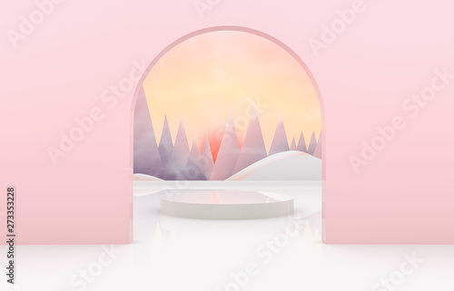 Foto auf Leinwand Rosa hell Natural beauty backdrop for product display. 3d natural scene with landscape background.