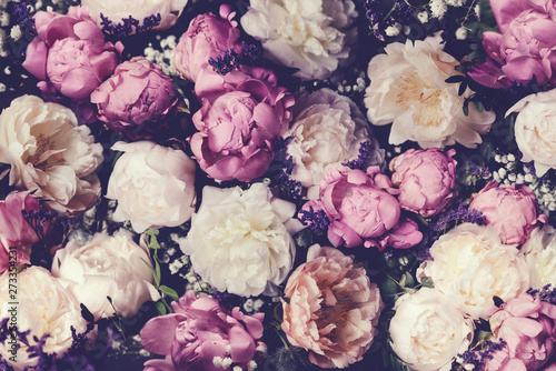 Stampa su Tela Vintage bouquet of pink and white peonies