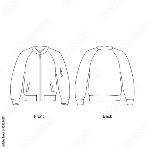 Fototapeta Bomber jacket vector illustration.  Technical sketch jacket.