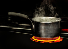 Pot Of Water Boiling On The Stove