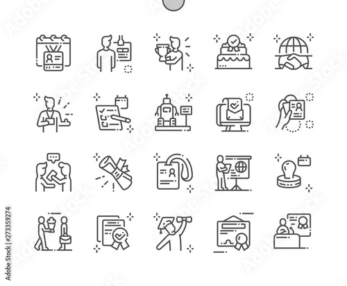 International Accreditation Day Well-crafted Pixel Perfect Vector Thin Line Icons 30 2x Grid for Web Graphics and Apps Canvas Print