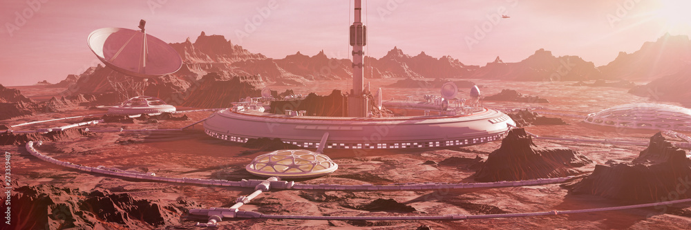 Fototapeta station on Mars surface, first martian colony in desert landscape on the red planet (3d space rendering banner)