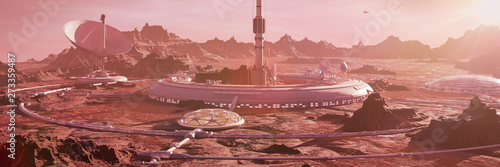 Photo station on Mars surface, first martian colony in desert landscape on the red pla