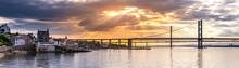 Beautiful Sunset At The Forth Road Bridge And Queensferry Crossing Bridge Edinburgh