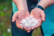 Man Hand Holding A Hail After ...