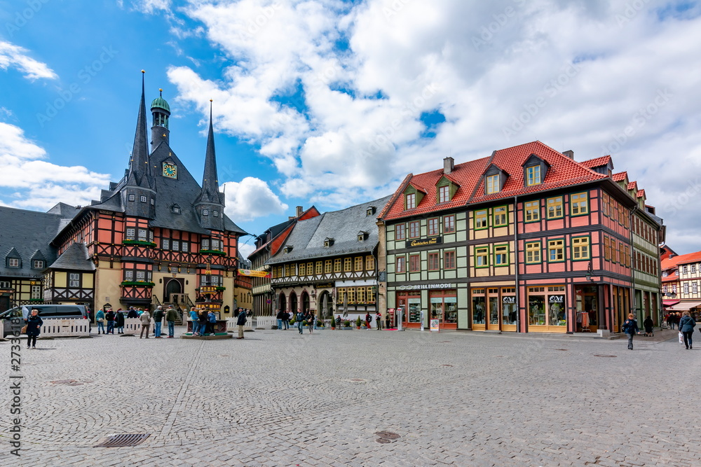 Fototapety, obrazy: Market square with Town Hall, Wernigerode, Germany