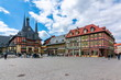 Leinwanddruck Bild Market square with Town Hall, Wernigerode, Germany