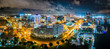 canvas print picture Aerial panorama of Norfolk Virginia by night. Norfolk is the second-most populous city in Virginia after neighboring Virginia Beach and the host of the largest navy base in the world.