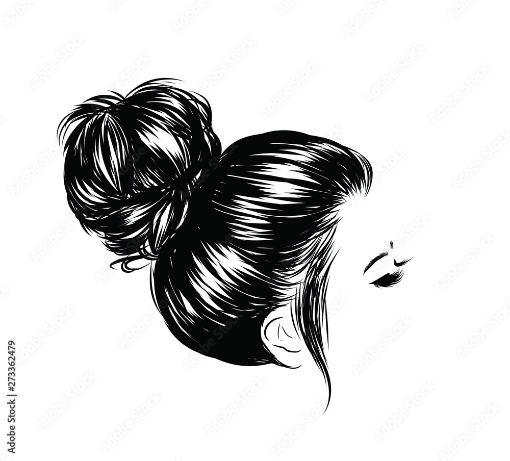 Fototapeta Woman with stylish messy  bun with perfect eyebrow shaped and full. Illustration of business hairstyle with natural long hair. Hand-drawn idea for greeting card, poster, flyers, web, print for t-shir