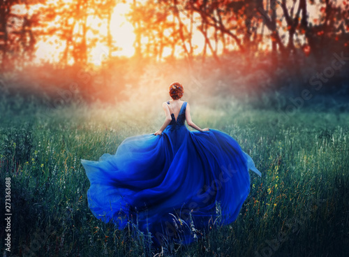 Fototapety, obrazy: princess, with a elegant hairstyle, runs through a forest meadow to meet a fiery sunset with a haze. A luxurious blue dress with a long train flutters in the wind. Photo from the back without a face.