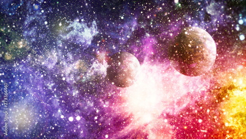 planets, stars and galaxies in outer space showing the beauty of space exploration. Elements furnished by NASA - 273366460