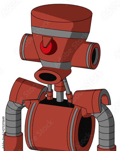 Red Automaton With Vase Head And Round Mouth And Angry Cyclops