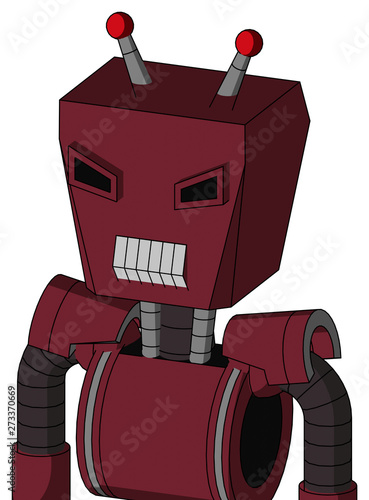Red Droid With Box Head And Teeth Mouth And Angry Eyes And Double Led Antenna