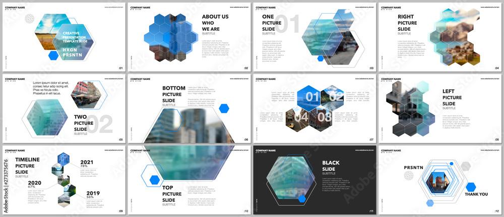Obraz Minimal presentations design, portfolio vector templates with hexagons and hexagonal elements. Multipurpose template for presentation slide, flyer leaflet, brochure cover, report, advertising. fototapeta, plakat