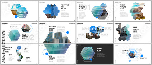 Fototapeta Minimal presentations design, portfolio vector templates with hexagons and hexagonal elements. Multipurpose template for presentation slide, flyer leaflet, brochure cover, report, advertising. obraz