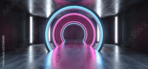 Fotografia, Obraz  Futuristic Neon Lights Sci Fi Glowing Purple Blue Virtual Vibrant Underground Ga