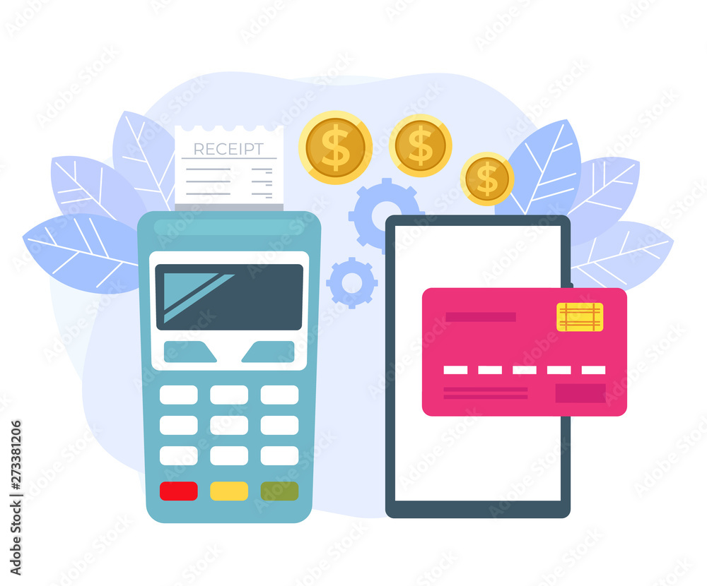 Fototapeta Online mobile payment transaction terminal concept. Vector flat cartoon graphic design isolated illustration