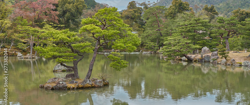 A lake with islands in the Golden pavilion park Tableau sur Toile