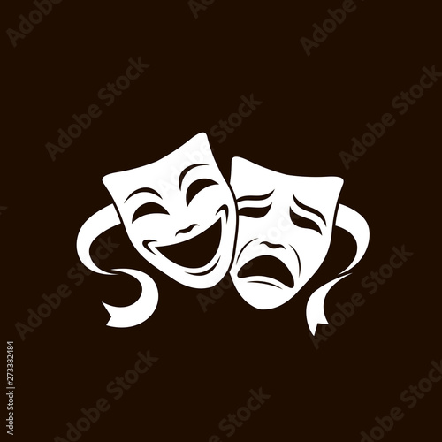 Fotografie, Obraz illustration of comedy and tragedy theatrical masks isolated on white background