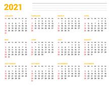 Calendar Template For 2021 Yea...