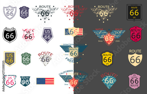 US Historic Route 66 in vector Wallpaper Mural