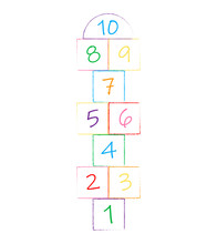 Illustration With Hopscotch Game. Children Street Game. Playground With Numbers.