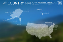 United States Of America, Alaska And Hawaii Vector Maps