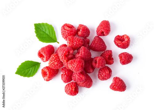 ripe raspberries isolated on white background. top view Fototapeta