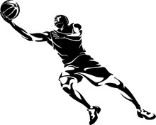 Abstract Basketball Player Lay Up