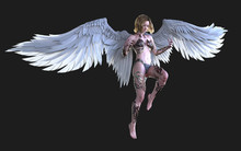 3d Illustration The Heaven Angel Wings, White Wing Plumage Isolated On Black Background With Clipping Path.