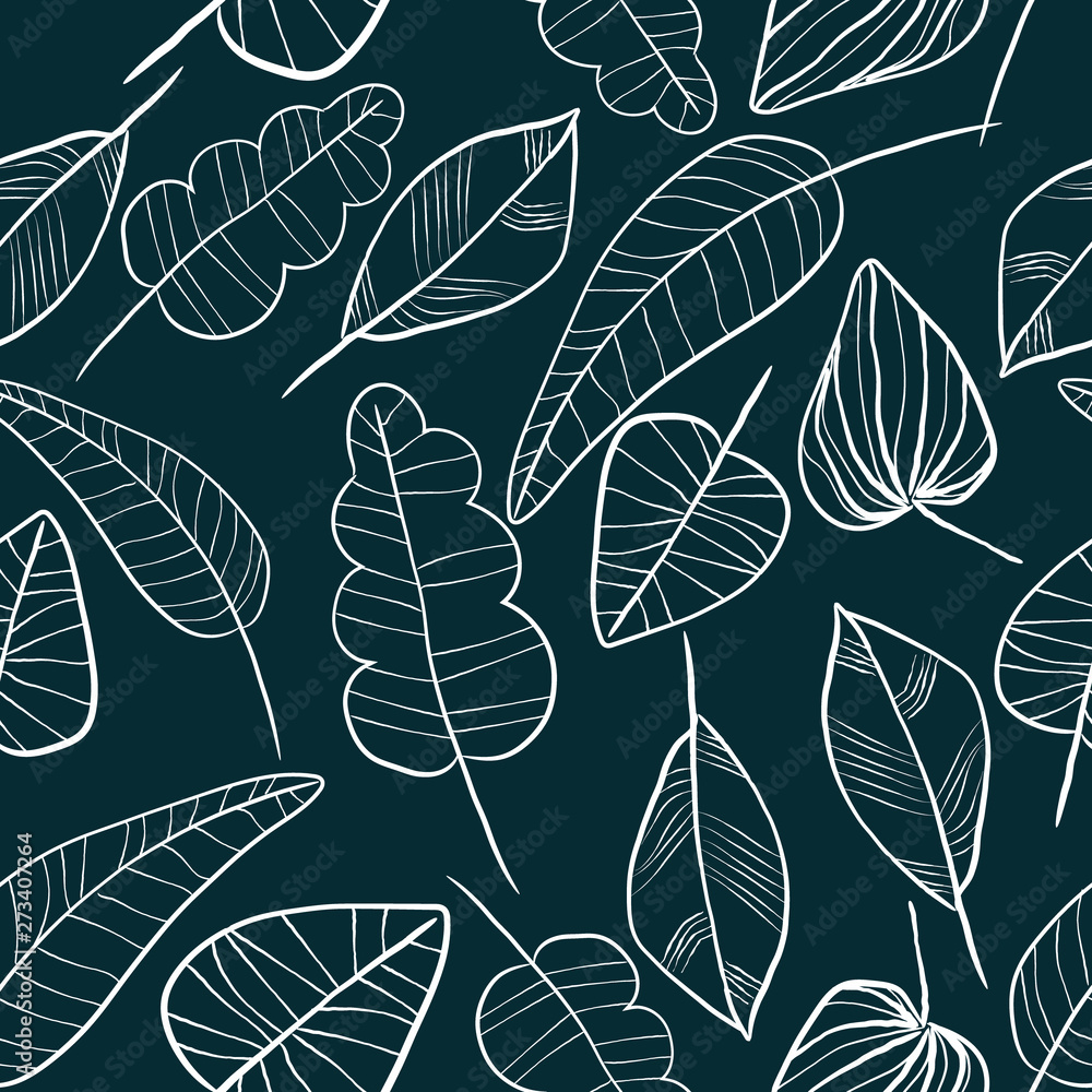 Vector seamless outline leaves pattern. Trendy scandinavian design concept for fashion textile print. Nature illustration.
