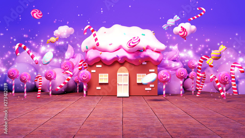 Sweet cartoon candy land with magic fairy dust effect. 3d rendering picture.