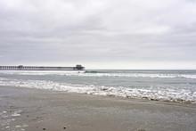 OCEANSIDE, CALIFORNIA - 2 JUNE 2019: Oceanside Sea View And Pier Bridge Playground And Surfboard